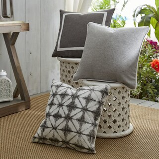 Patina Vie Summer Riviera Sunbrella Pillow Assorted Set of 3 in Grey and Ivory