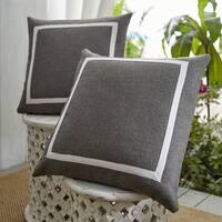 Patina Vie Summer Riviera Sunbrella Indoor/Outdoor Pillow Set of 2 in Textured Grey and Beige