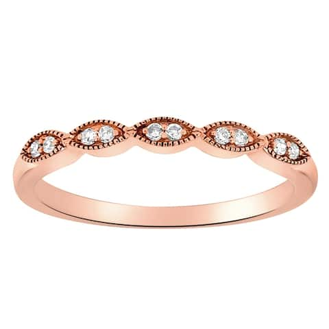 14K Rose Gold 1/14ct TDW Diamond Vintage Inspired Anniversary Band Ring by Beverly Hills Charm - White H-I