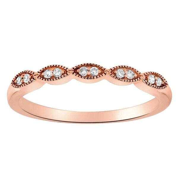 14K Rose Gold 1/14ct TDW Diamond Vintage Inspired Anniversary Band Ring by Beverly Hills Charm - White H-I - White H-I
