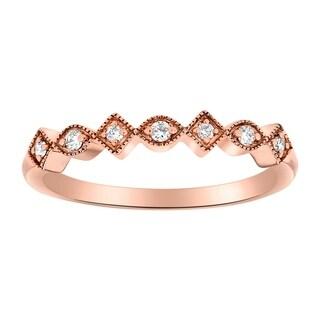 14K Rose Gold 1/10ct TDW Diamond Vintage Inspired Anniversary Band Ring - White H-I
