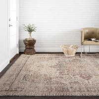 Traditional Distressed Red/ Ivory Mosaic Rug - 7'10 x 10'