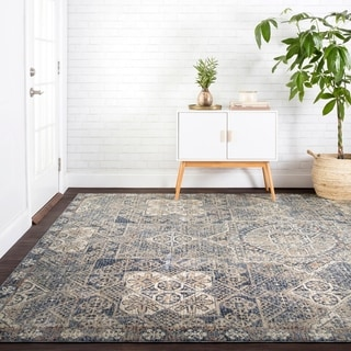 """Traditional Blue Moroccan Mosaic Rug - 7'10"""" x 10'"""