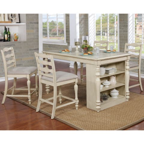 Furniture of America Reln Transitional White 5-piece Counter Dining Set