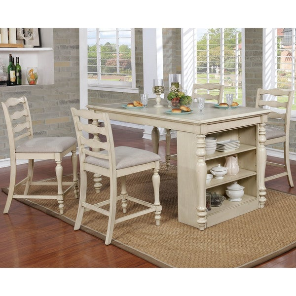 furniture of america jeanine antique white 5 piece farmhouse kitchen island set with built - Farmhouse Kitchen Island