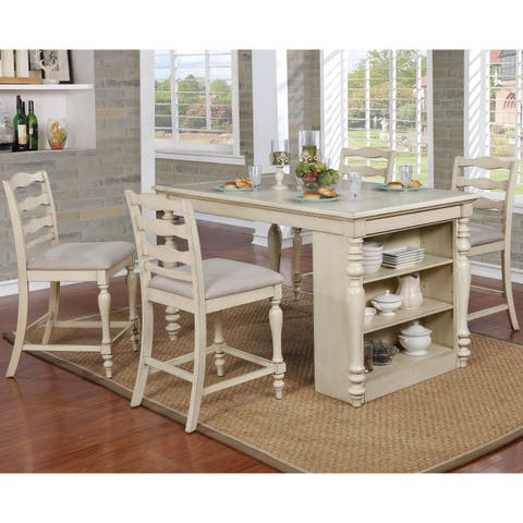 Furniture of America Jeanine Antique White 5-Piece Farmhouse Kitchen Island Set with Built-in Power Outlets