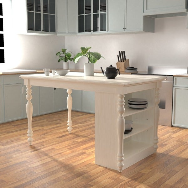 furniture of america jeanine antique white farmhouse kitchen island with built in power outlets - Farmhouse Kitchen Island