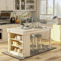 Furniture of America Jeanine Antique White Farmhouse Kitchen Island with Built-in Power Outlets