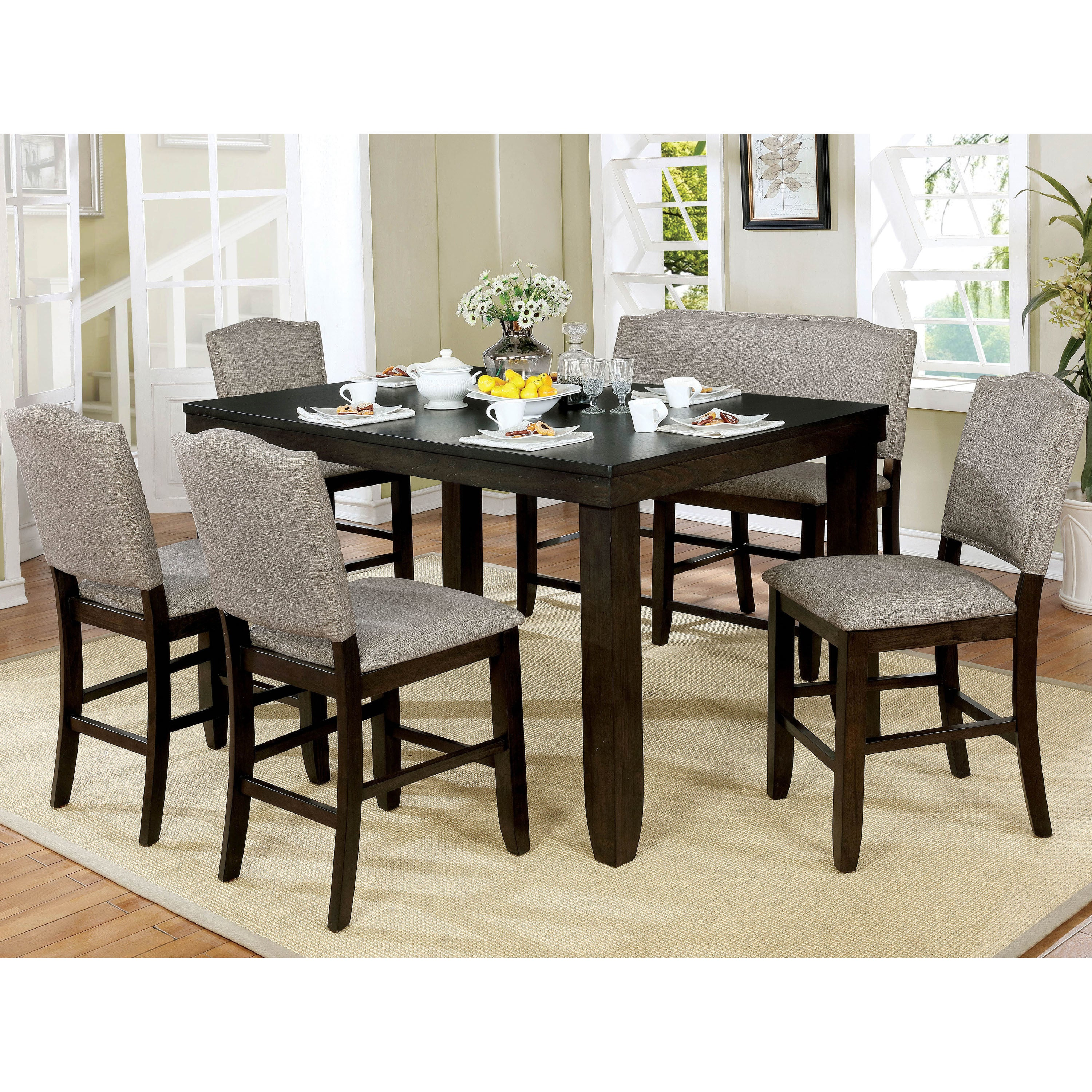 Davenport Transitional 6 Piece Dark Walnut Dining Table Set By Foa