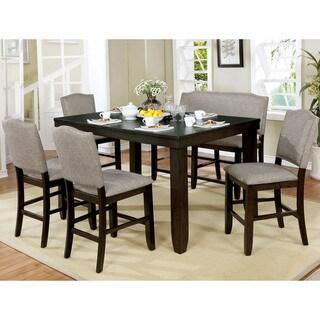 Furniture of America Davenport Walnut 6-piece Counter Dining Set