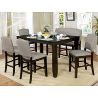 Davenport Transitional 6-Piece Dark Walnut Dining Table Set by FOA