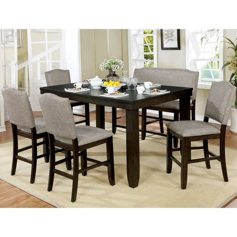 Furniture of America Davenport Transitional Walnut Counter Dining Table
