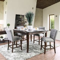 Furniture of America Danville Rustic 7-Piece Counter Height Celestite Top Table Set