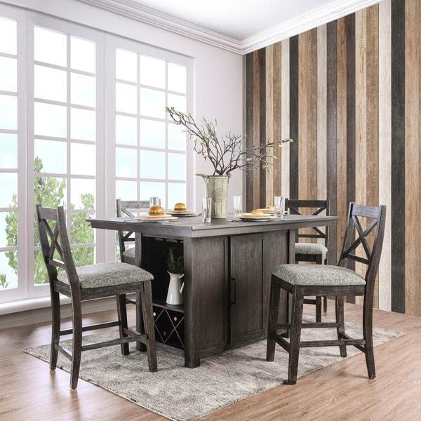 Furniture Of America Devlin Rustic 5 Piece Dark Walnut Counter Height Table Set