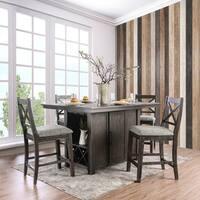 Devlin Rustic Dark Walnut Counter Height 5-Piece Table Set by FOA