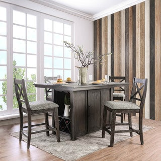 Furniture of America Devlin Rustic 5-Piece Dark Walnut Counter Height Table Set