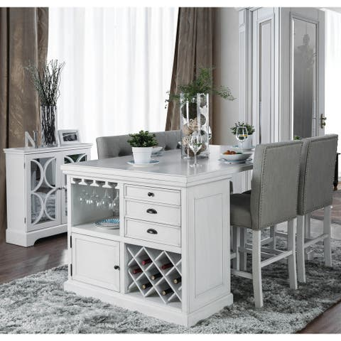 Furniture of America Transitional White 5-piece Kitchen Island Set