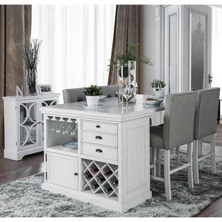 Furniture of America Tia White 5-piece Kitchen Island Set