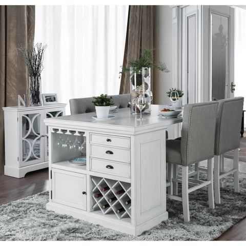 Furniture of America Tia Cottage Style 5-Piece Counter Height Kitchen Island Set