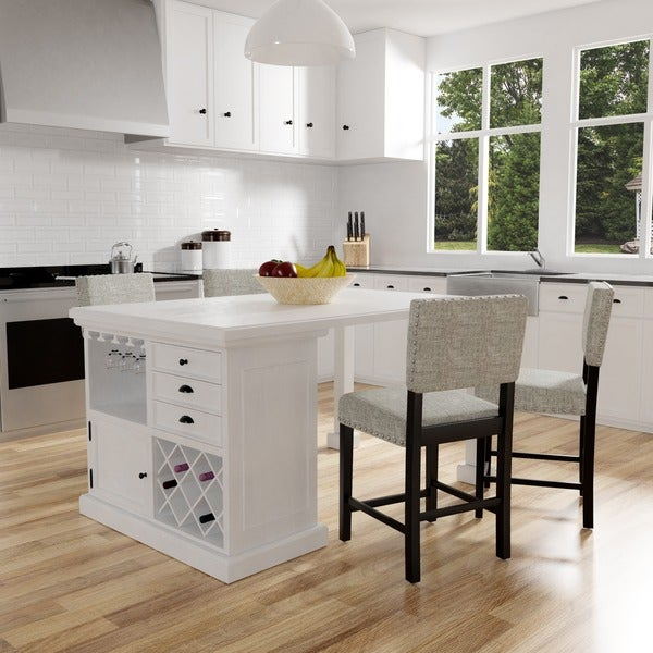 Kitchen Island Table And Chairs: Shop Tia Modern Antique White Counter Height Kitchen Island Table By FOA
