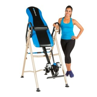 EXERPEUTIC 175SL Inversion Table with SURELOCK Safe Ankle Lock System - Black/Blue