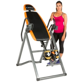 EXERPEUTIC 475SL Inversion Table with 'AIRSOFT' No Pinch Ankle Holders - Black/Orange