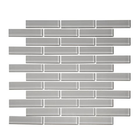 """12"""" x 12"""" Cathedral Gray 1"""" x 3"""" Glass Mosaic Tile"""