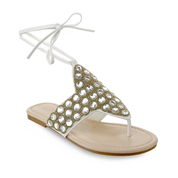 Olivia Miller   x27 Naples  x27  Large Multi Rhinestone Beaded Ankle Tie 9b9189720720
