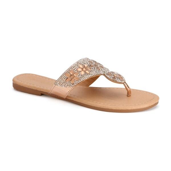 63b2533208d5 Shop Olivia Miller  Deland  Multi Floral Rhinestone Sandals - On ...
