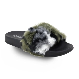 Olivia Miller 'Dania' Multi Color Fur Pool Slide Sandals