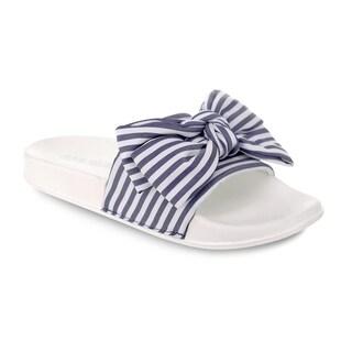 Olivia Miller 'Miami' Multi Strip Bow Pool Slide Sandals