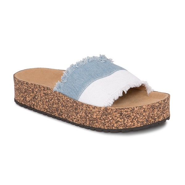2b9fb153301b9 Olivia Miller   x27 Sanibel  x27  Denim Frayed Color Block Cork Platform