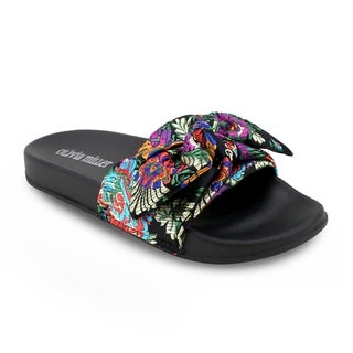 Olivia Miller 'Biscayne' Asian Satin Bow Pool Slide Sandals