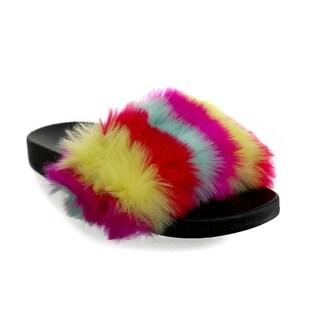 Olivia Miller 'Fruitland' Multi Color Fur Pool Slide Sandals