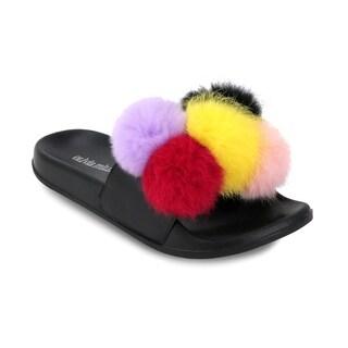 Olivia Miller 'Palatka' Multi Color Fur Pom Pom Pool Slide Sandals