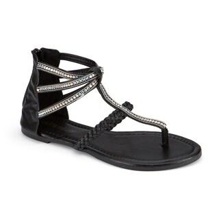 Olivia Miller 'Atlantic' Multi Rhinestone Beaded Braided Strap Sandals