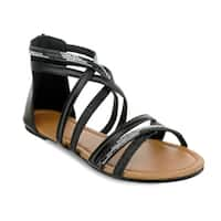 Olivia Miller 'Stuart' Glitter Rhinestone Criss Cross Strap Sandals