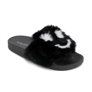 Olivia Miller 'Chipley' Emoji Fur Pool Slide Sandals