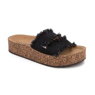 Olivia Miller 'Sarasota' Denim Frayed Ripped Cork Platform Sandals