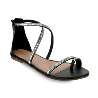 Olivia Miller 'Richey' Multi Rhinestone Criss Cross Strap Toe Ring Sandals (More options available)