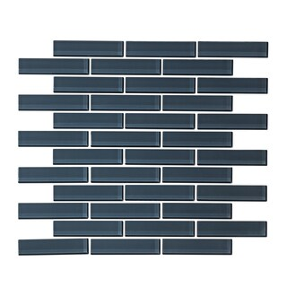 "12"" x 12"" Steel Blue 1"" x 3"" Random Glass Mosaic Tile"