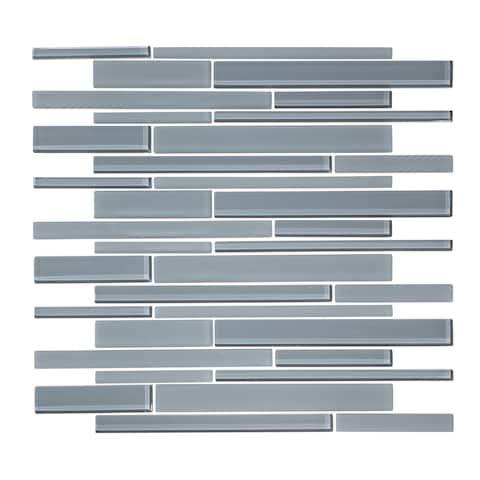 "12"" x 12"" Cadet Gray Linear Random Glass Mosaic Tile"