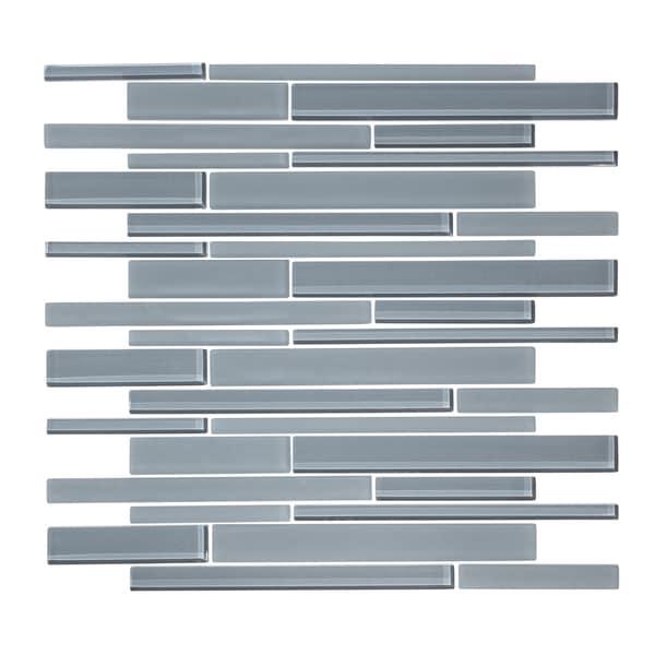 "12"" x 12"" Cadet Gray Linear Random Glass Mosaic Tile. Opens flyout."