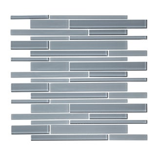 "12"" x 12"" Cadet Gray Linear Random Glass Mosaic Tile"