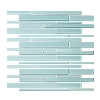 "12"" x 12"" Spring Blue Linear Random Glass Mosaic Tile"