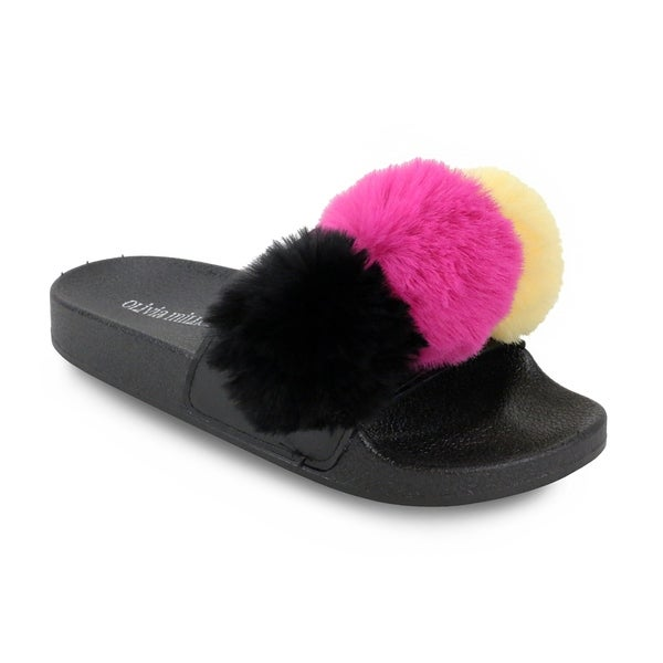 92eb4289fd525 Shop Olivia Miller  Casselberry  Multi Color Fur Pom Pom Pool Slide ...