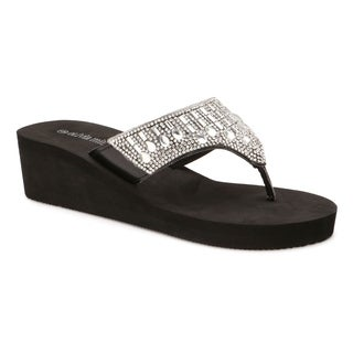 Olivia Miller 'Pinellas' Multi Rhinestone Hooded EVA Wedge Sandals (More options available)