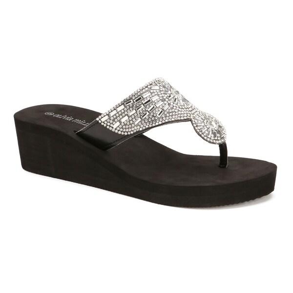 50ff018ec6b Olivia Miller   x27 Hawthorne  x27  Multi Rhinestone Circular EVA Wedge  Sandals