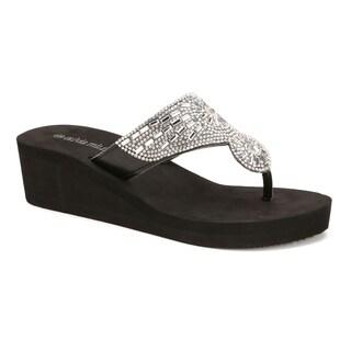 Olivia Miller 'Hawthorne' Multi Rhinestone Circular EVA Wedge Sandals