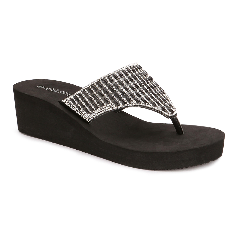 4fee9d439 Olivia Miller  Miramar  Multi Rhinestone EVA Wedge Sandals